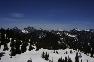 North of the ridge, looking into the Alpine Lakes Wilderness.