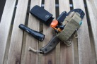 ESEE 5 in sheath with other camp tools