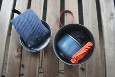 Fuel canister, Pack Towel, stove, and canister support all nested neatly inside the Trek 900
