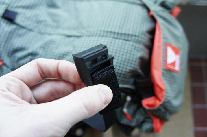 That's when I discovered that the webbing had been folded and backed off, I would need to seam rip the stitching and then reroute the webbing and then refold the webbing and then sew it shut again. No thanks. It worked fine, but wouldn't allow you to tension the flip top closed because the webbing would slide right through the ladder lock since it was sequenced incorrectly.
